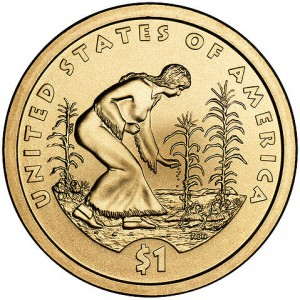 Three Sisters Planting on a coin